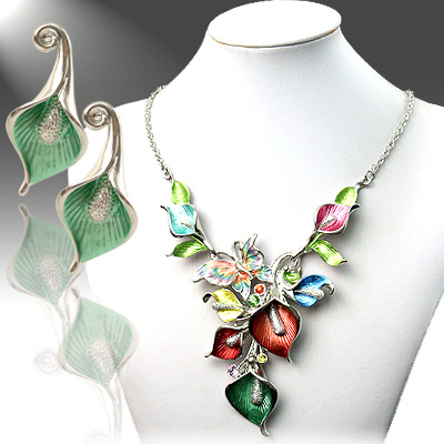 Necklace and Earrings Matching Set- Mezmerizing Floral Collection-47