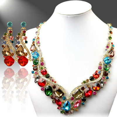Necklace and Earrings Matching Set- Allure Precious Rhinestone Collection -32
