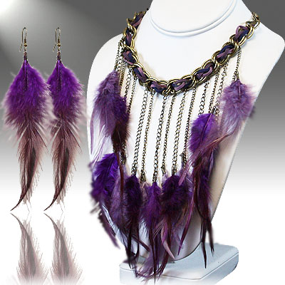 Necklace and Earrings Maching Set- Charming Feather  Collection- 25