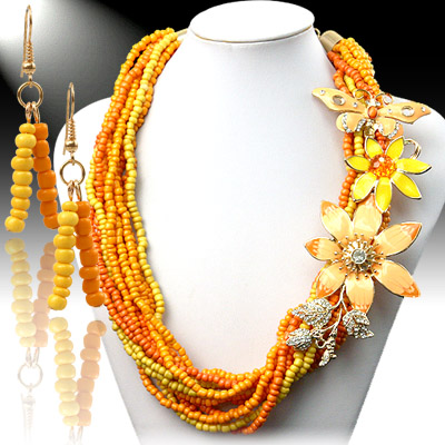 Necklace and Earrings Matching Set- Mezmerizing Floral Collection-53