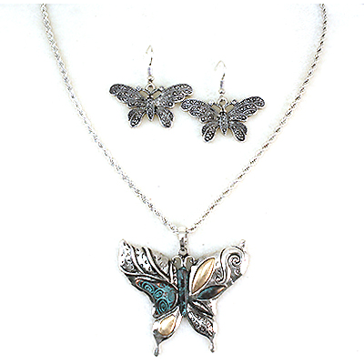 Necklace and  Matching Earrings Set- Lovely Butterfly Collection -26