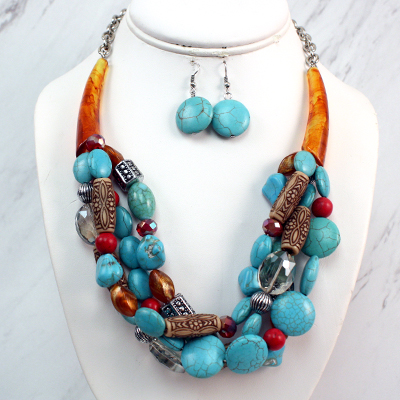 Necklace and Earrings Matching Set- Contemporary Deco  Collection -49