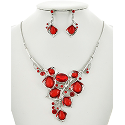 Necklace and Earrings Matching Set- Precious Rhinestone Collection -50