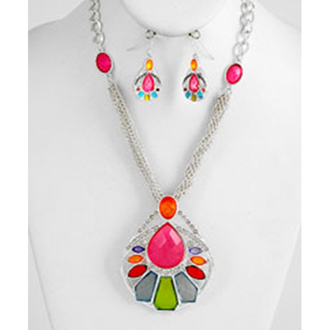 Necklace and Earrings Matching Set - Stunning Deco Art Collection -27