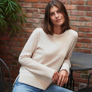 White + Warren Cashmere Pointelle Detail Crew Neck Timeless Martha's Vineyard