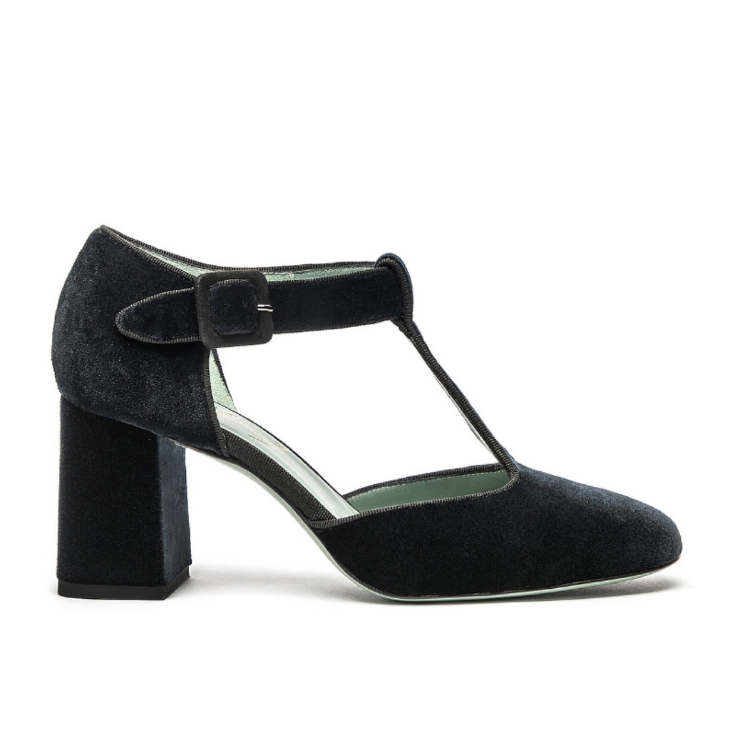 Blue Velvet T-bar pumps Paola D'Arcano