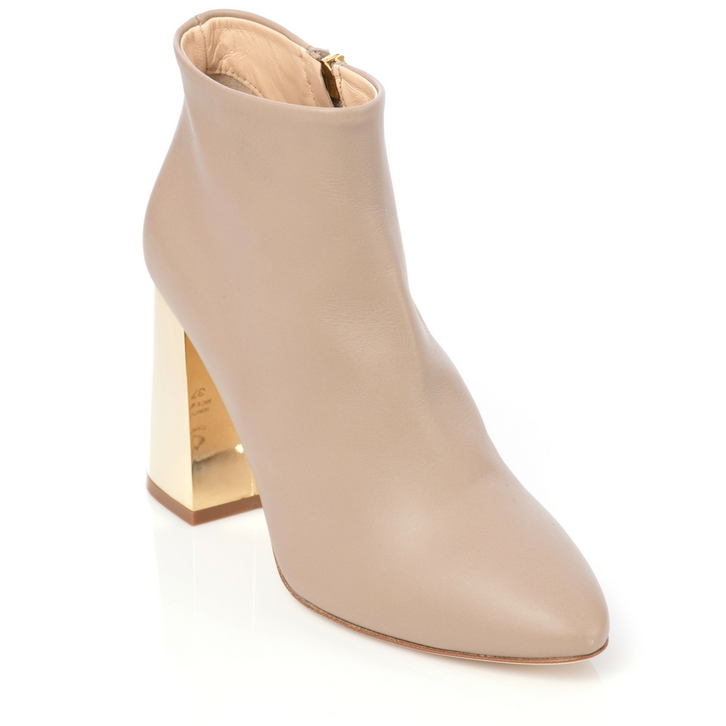 Lake Bootie - Beige with Gold Heel - Timeless
