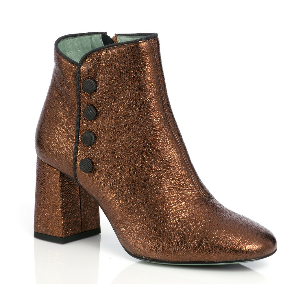 Bronze patent leather ankle boots with button details by Paola D'Arcano