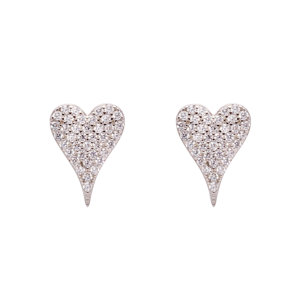 Pave Heart Earring White Gold