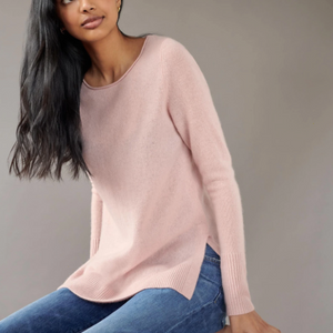 White + Warren Side Slit Open Crewneck Timeless Martha's Vineyard