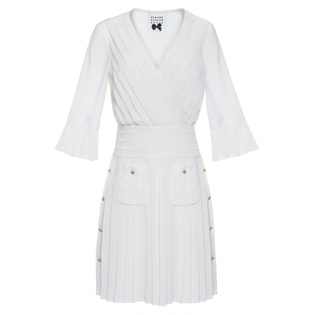 Edward Achour Ivory Pleated Dress Timeless Martha's Vineyard
