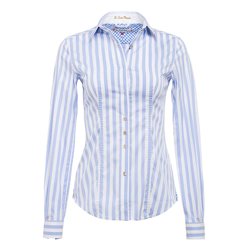 Le Sarte Pettegole Blue and White Striped Shirt at Timeless Martha's Vineyard