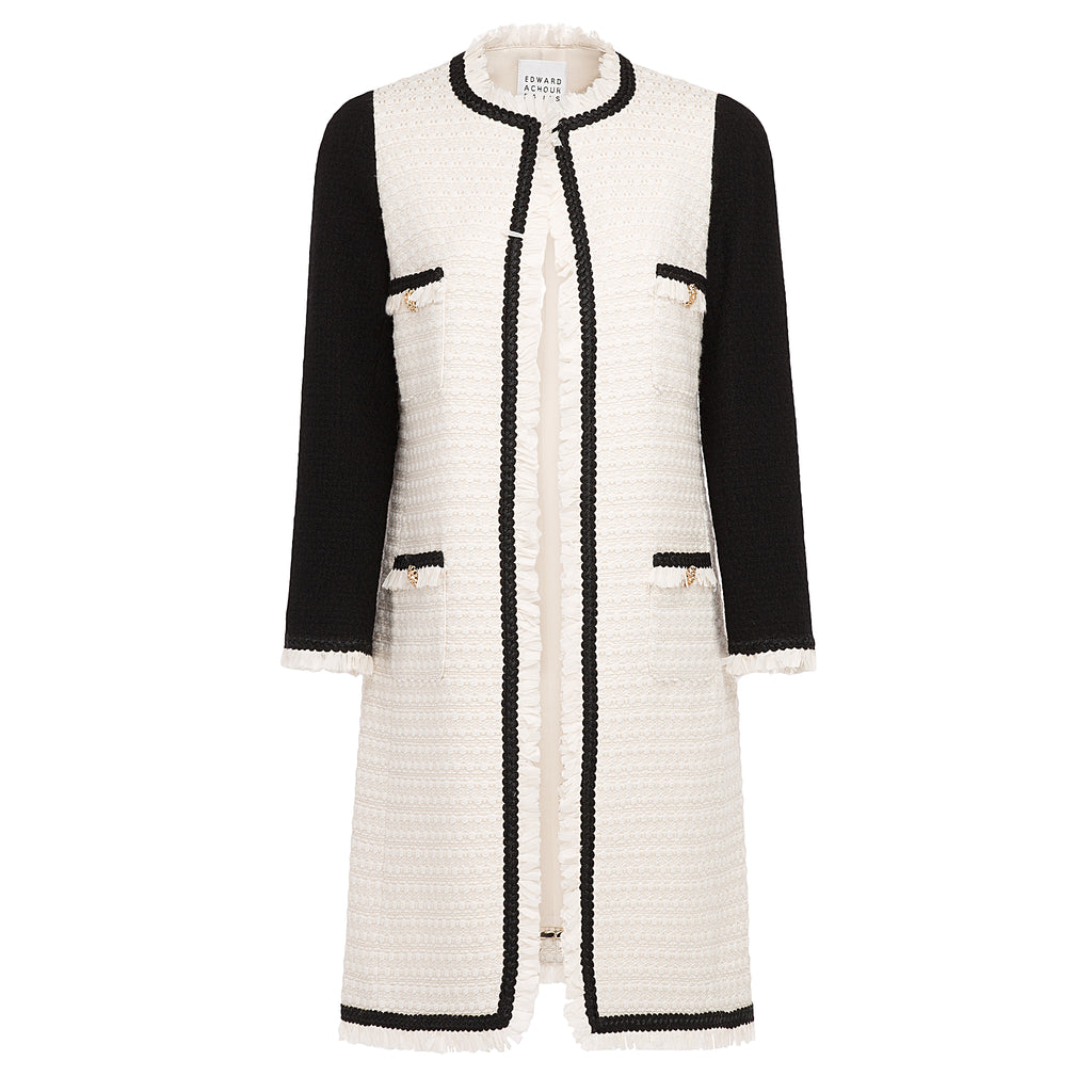 Edward Achour Cream and Black Jacket Timeless Martha's Vineyard