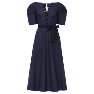 Botton Dress - Navy