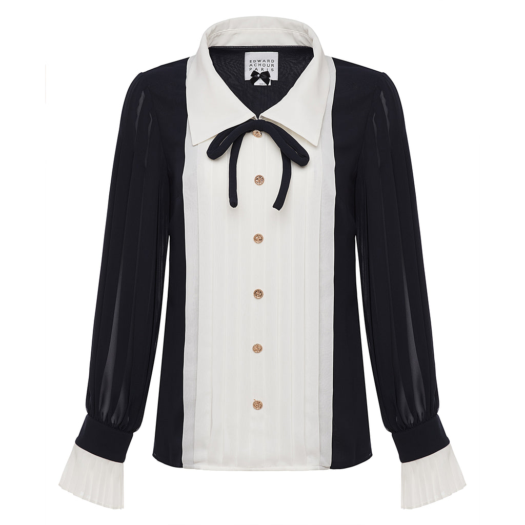 Edward Achour Navy and Ivory Blouse Timeless Martha's Vineyard