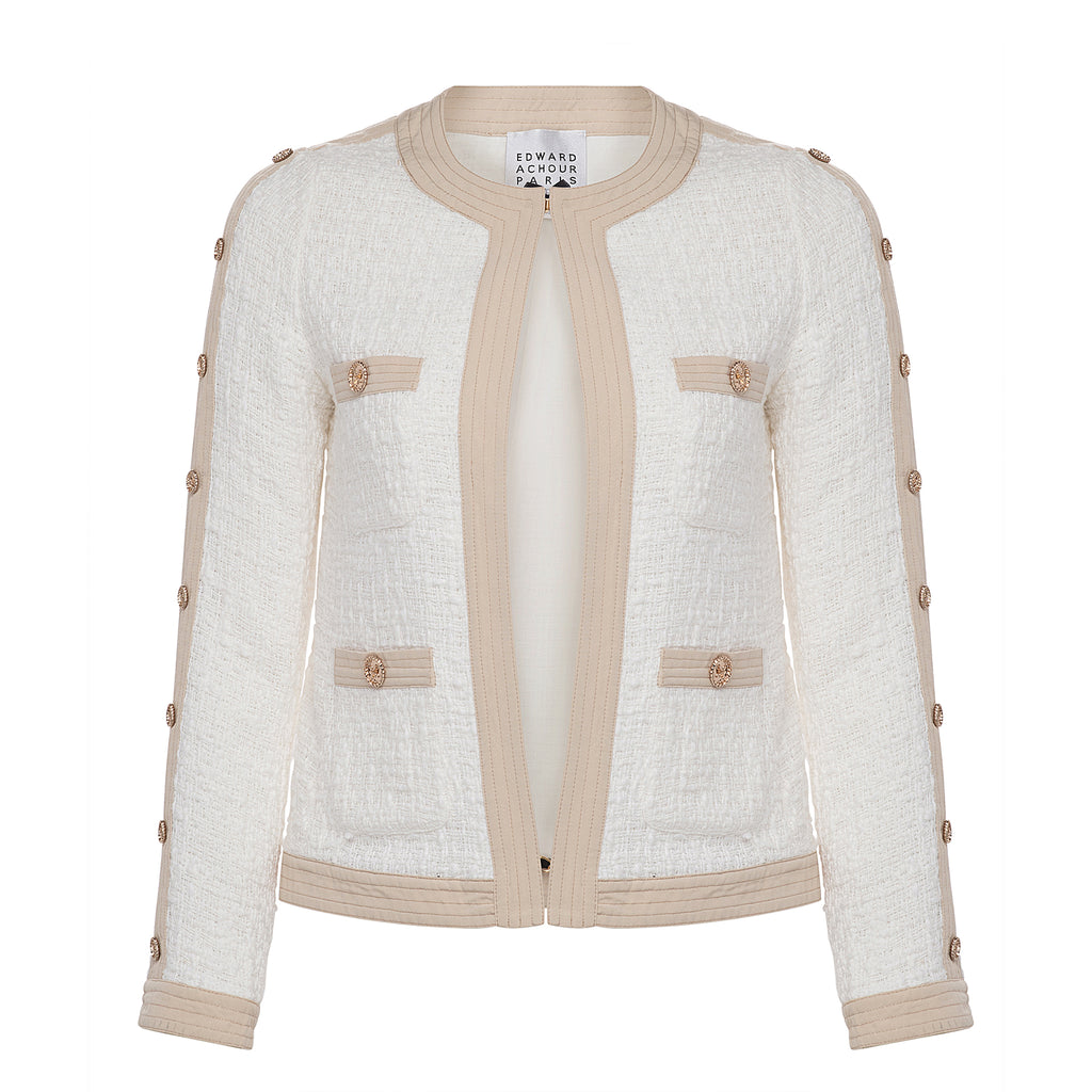 Edward Achour White Cropped Jacket Timeless Martha's Vineyard
