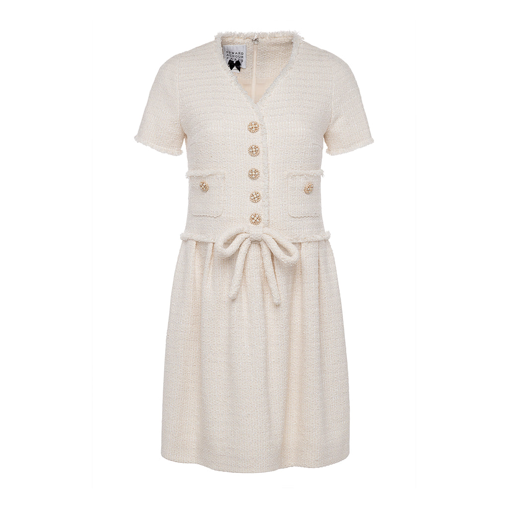 Edward Achour Ivory Tweed Dress Timeless Martha's Vineyard