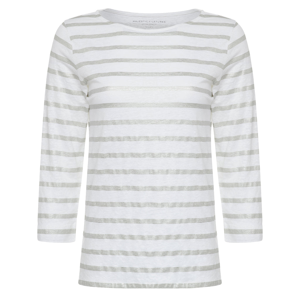 METALLIC STRIPE 3/4 SLV BOATNECK