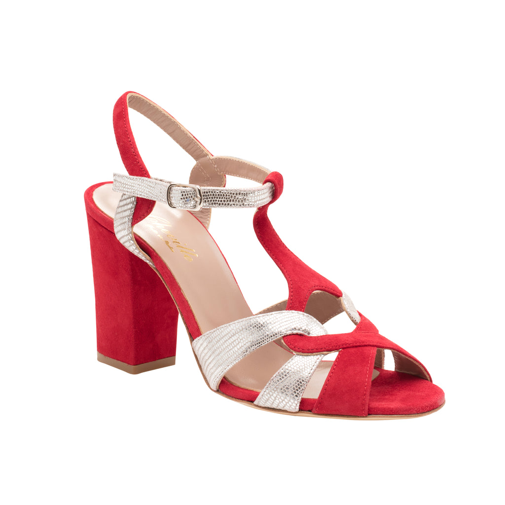 Red and Metalic Block Heel