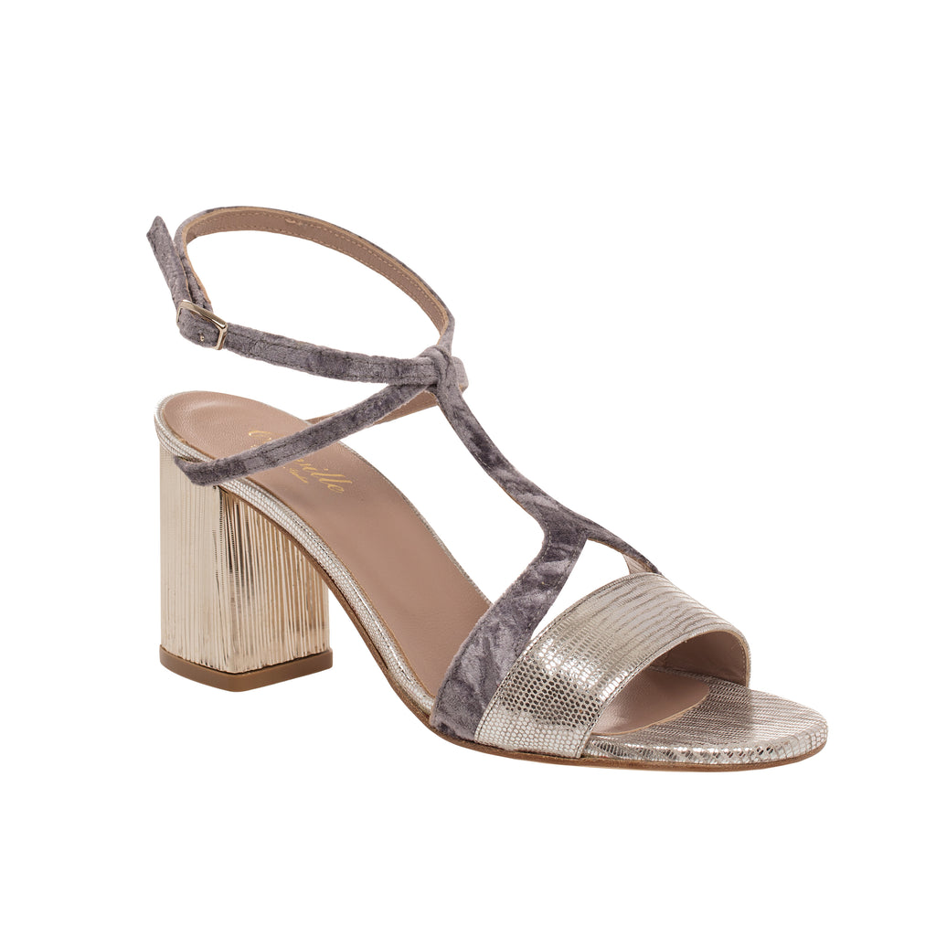 Silver Metallic Sandal with Lavender Velvet
