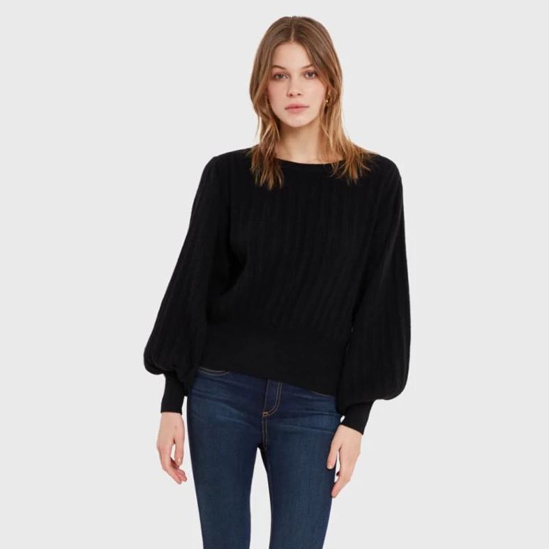 White + Warren Pleated Sleeve Crewneck Timeless Martha's Vineyard