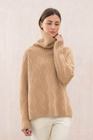 Johnstons of Elgin Aisling Geometric rib sweater Timeless Martha's Vineyard