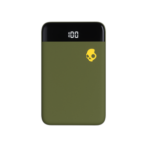 Power bank portable, marca Skullcandy, modelo Stash Mini Moos Olive.