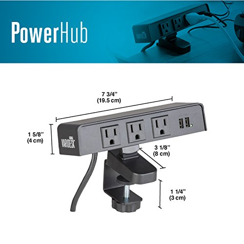 PowerHub Surge Protector with 3 AC Outlets and 2 USB Ports - 12' Cord