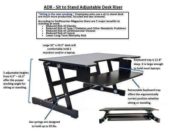 Rocelco Sit To Stand Adjustable Desk Riser - bringown