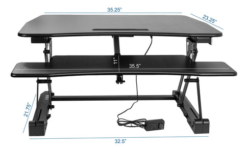 Vivo Black Electric Height Adjustable Standing Tabletop Desk Riser - bringown