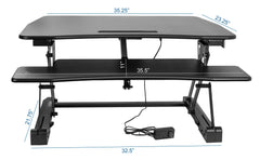Vivo Black Electric Height Adjustable Standing Tabletop Desk Riser