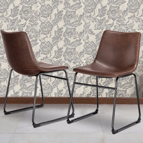 Set of 2 PU Leather Vintage Dining Chairs