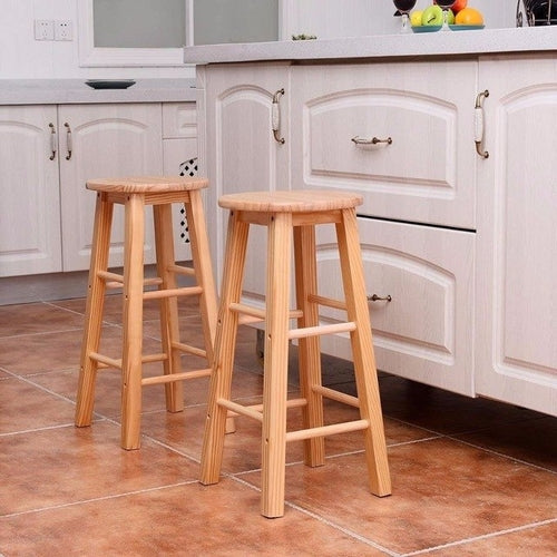 "Set of 2 Round 24"" Bar Stools Wood Bistro"