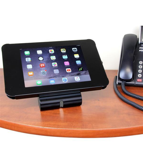 Lockable Tablet Stand for iPad - Desk or Wall Mountable - Steel - Stretch Desks - Height Adjustable Standing Desk