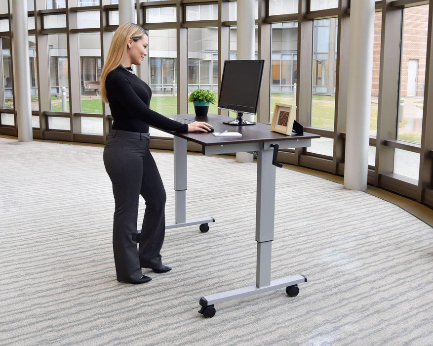 Luxor STANDCF60-BK/BO - 60″ Crank Adjustable Stand Up Desk - Stretch Desks - Height Adjustable Standing Desk