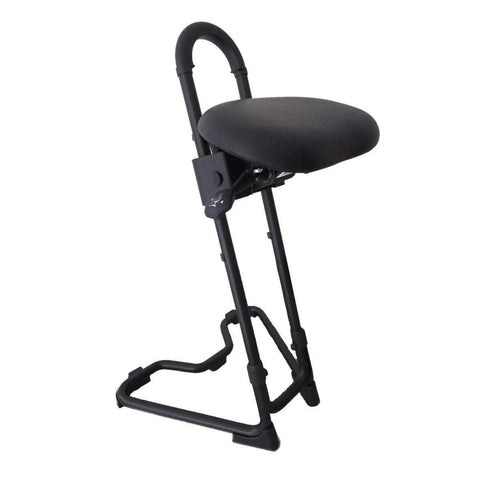 Ergo Desktop Steybil Sit-Stand Stool with Black Leatherette - bringown