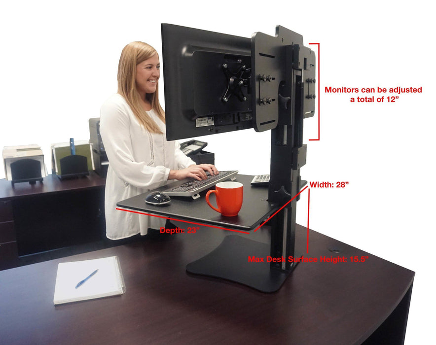 High Rise Dual Monitor Sit and Stand Desk Converter - Stretch Desks - Height Adjustable Standing Desk