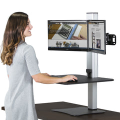 High Rise Electric Dual Monitor Sit Stand Desk Converter