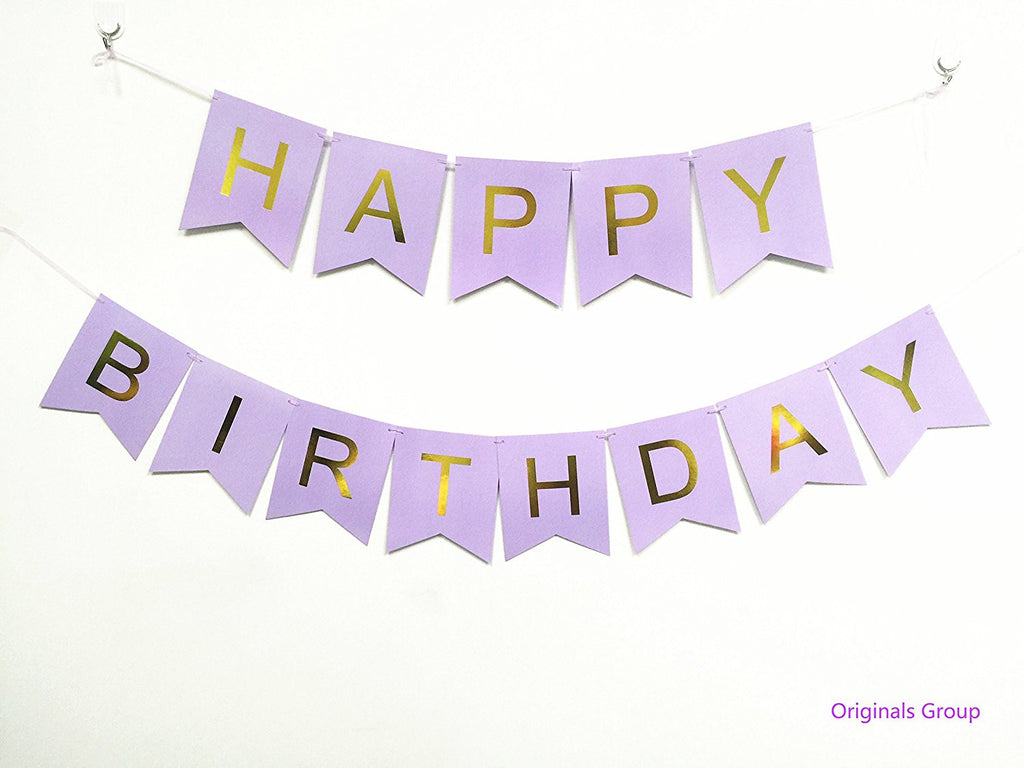 Originals Group Pink Gold Foiled Star Happy Birthday Bunting Banner for Party Decoratins