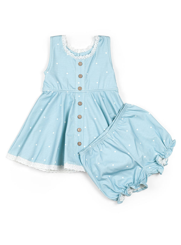 Library Tunic Set / Sky Blue Dot