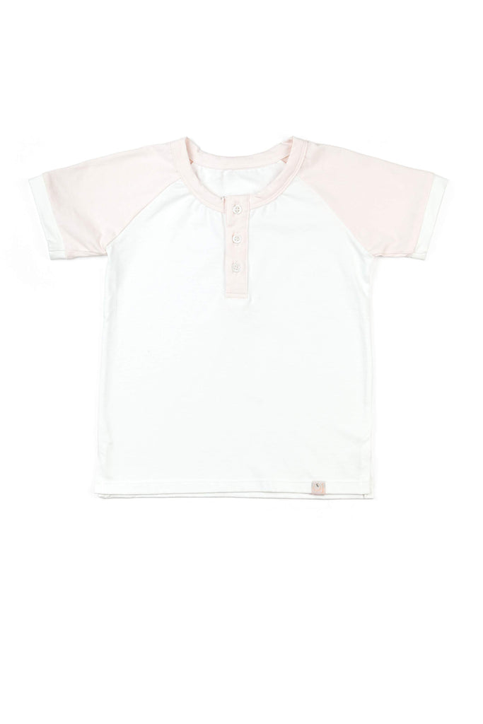 Boy's Henley / Off White & Peachy Pink