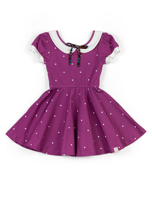 Collared Dancer Dress: Magenta Dot