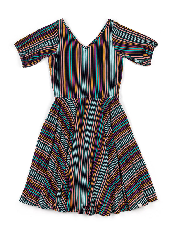 Juniors Peasant Dress / Autumn Stripe