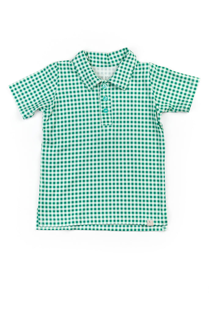 Collared Boy Shirt / Green Gingham Check
