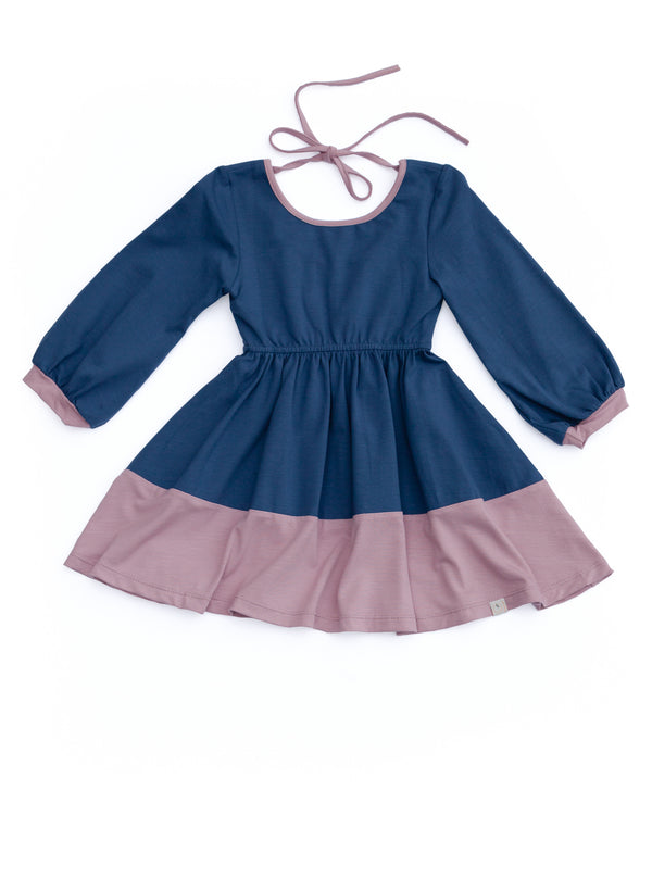 Billow Dress / Navy Peony Banded