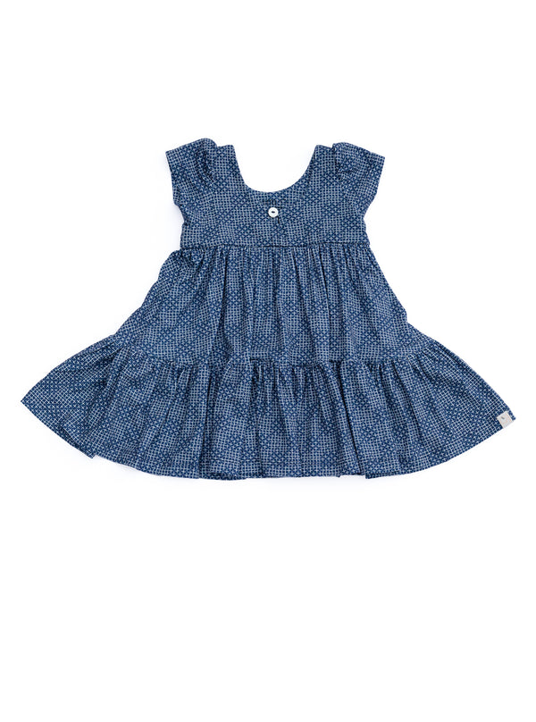 Play Tunic / Diagonal Crosshatch Navy Peony
