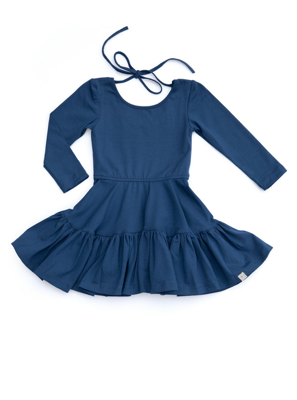 Ruffled Dancer Dress / Navy Peony