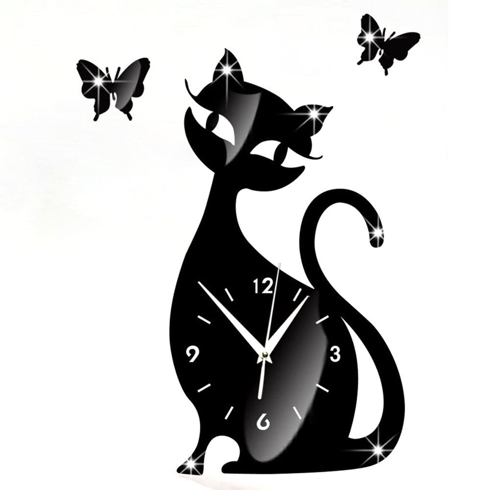 Cute Cat Butterfly Wall Clock The Best Cat Deals