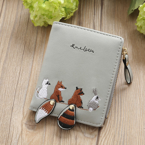 Fashion Women Wallets Female Cute Animal Embroidery PU Leather Short Wallet Cash Card Holder