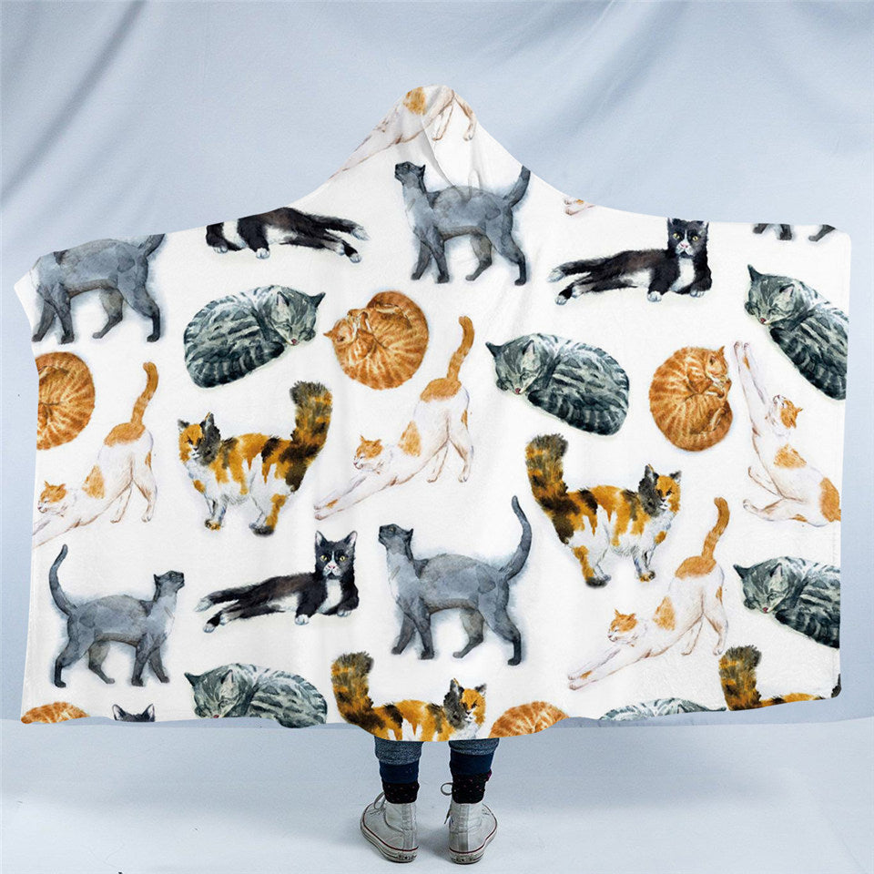 Cute Cats Cartoon Hooded Blanket